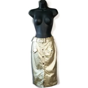 NWOT GOLD BUTTON BELTED MIDI SKIRT